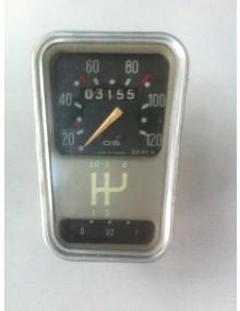 Compteur 2cv occasion marque OS gradué de 20 à 120 km/h avec grille de vitesse