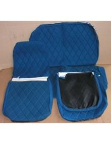 Ensemble de garnitures de sièges 2cv tissus losanges bleus dossiers symétriques