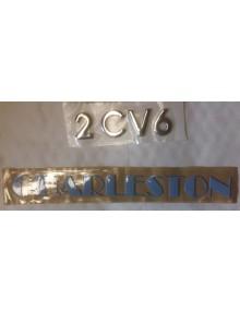 Emblème argenté et bleu 2cv6 Charleston