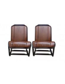 Ensemble de 2 garnitures de sièges en skai marron foncé lisse pour 2cv fourgonnette