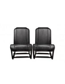 Ensemble de 2 garnitures de sièges en skai noir lisse pour 2cv fourgonnette