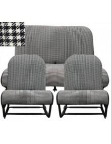 Ensemble de garnitures sièges symétriques et banquette arrière motif pied de poule 2cv et Dyane sur commande