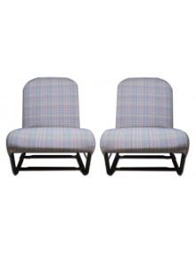 Garnitures de sièges gauche et droit, écossais chiné gris dossier symétrique 2cv Dyane