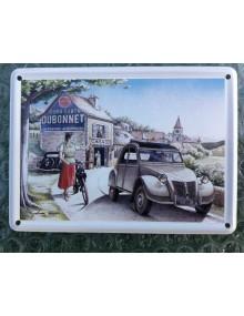 Mini carte métal 2cv paysage et Dubonnet