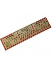 Notice d'entretien à coller sur le pare-soleil cartonné pour 2cv AZ avec liseré rouge