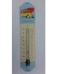 """Thermomètre émaillé 2cv 1962 jaune Panama """"  la 2cv un art de vivre"""" hauteur 42 cm"""