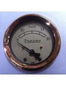 Voltmètre avec entourage doré pour 2cv et autres anciennes en 12 volts